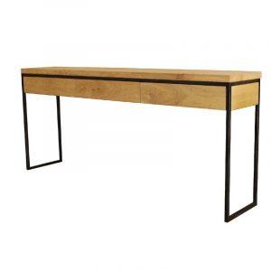 Wandtisch mit 3 Schubladen aus gebackener Eiche